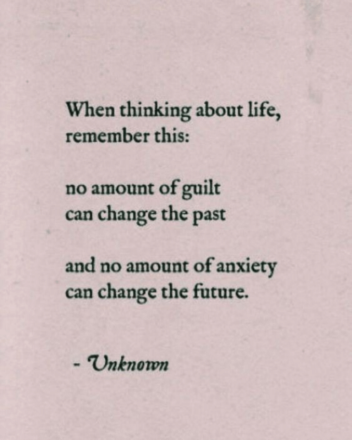 About Life: When thinking about life,  remember this:  no amount of guilt  change the past  can  and no amount of anxiety  can change the future.  - Unknown