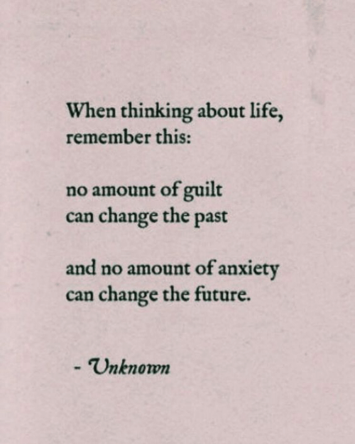 About Life: When thinking about life,  remember this:  no amount of guilt  change the past  can  and no amount of anxiety  can change the future.  -Unknown