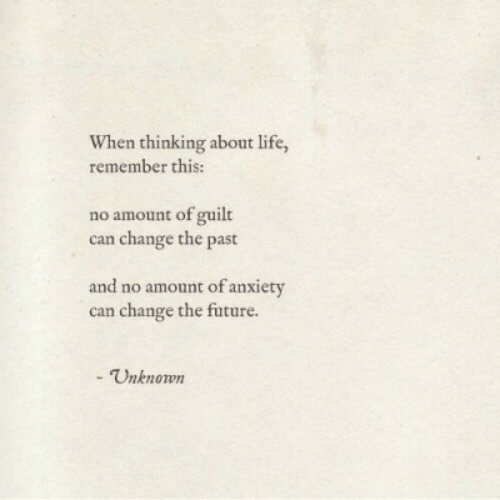 Future, Life, and Anxiety: When thinking about life,  remember this:  no amount of guilt  can change the past  and no amount of anxiety  can change the future.  - Unknown