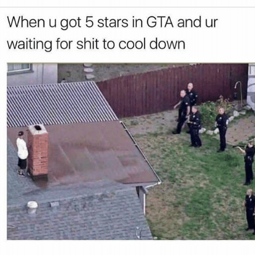 Memes, Shit, and Cool: When u got 5 stars in GTA and ur  waiting for shit to cool down