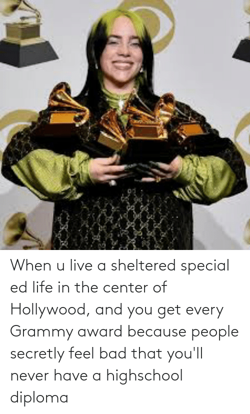 hollywood: When u live a sheltered special ed life in the center of Hollywood, and you get every Grammy award because people secretly feel bad that you'll never have a highschool diploma