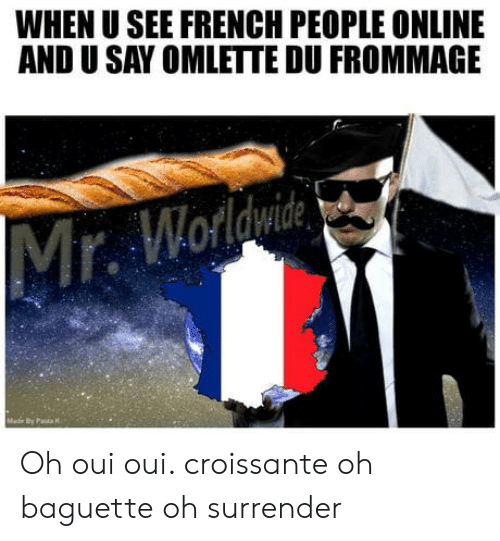 French People: WHEN U SEE FRENCH PEOPLE ONLINE  AND U SAY OMLETTE DU FROMMAGE Oh oui oui. croissante oh baguette oh surrender
