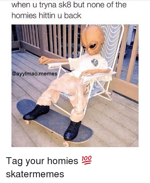 Memes, Skate, and Back: when u tryna sk8 but none of the  homies hittin u back  @ayylmao.memes Tag your homies 💯 skatermemes
