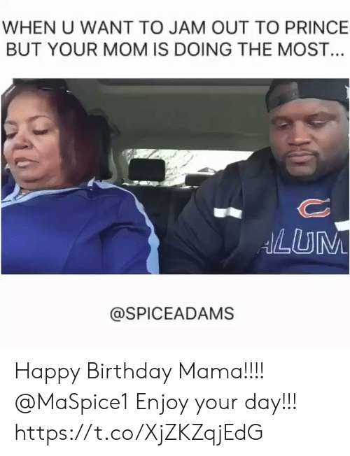 jam: WHEN U WANT TO JAM OUT TO PRINCE  BUT YOUR MOM IS DOING THE MOST...  ANLUM  @SPICEADAMS Happy Birthday Mama!!!! @MaSpice1 Enjoy your day!!! https://t.co/XjZKZqjEdG