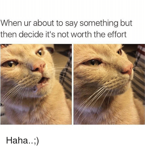 Memes, Haha, and 🤖: When ur about to say something but  then decide it's not worth the effort Haha..;)