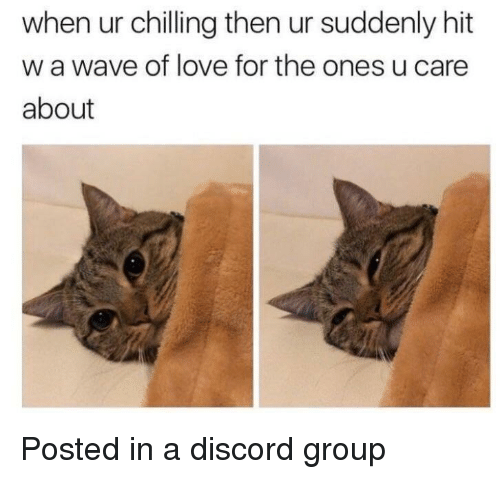 Love, Discord, and Wave: when ur chilling then ur suddenly hit  w a wave of love for the ones u care  about Posted in a discord group