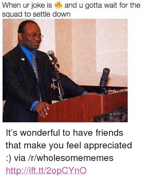"""Feel Appreciated: When ur joke is and u gotta wait for the  squad to settle down <p>It&rsquo;s wonderful to have friends that make you feel appreciated :) via /r/wholesomememes <a href=""""http://ift.tt/2opCYnO"""">http://ift.tt/2opCYnO</a></p>"""