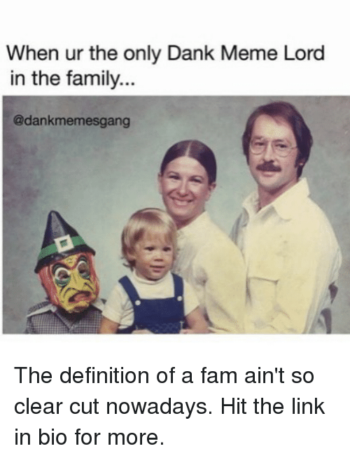 Dank, Fam, and Family: When ur the only Dank Meme Lord  in the family..  @dankmemesgang The definition of a fam ain't so clear cut nowadays. Hit the link in bio for more.