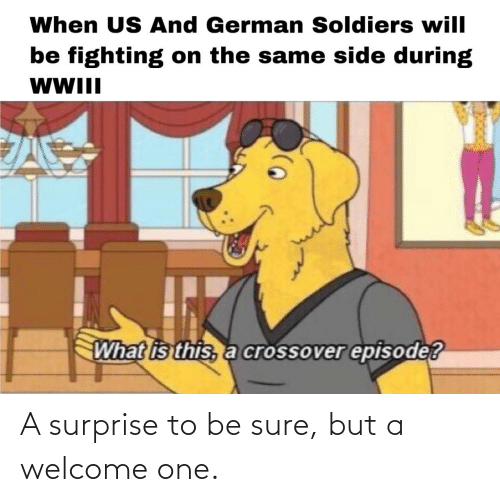 what is this: When US And German Soldiers will  be fighting on the same side during  WWII  What is this, a crossover episode? A surprise to be sure, but a welcome one.