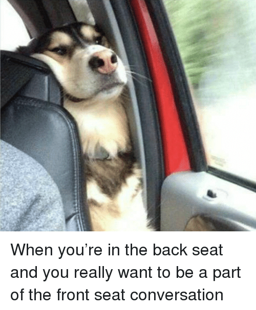 conversating: When you're in the back seat and you really want to be a part of the front seat conversation