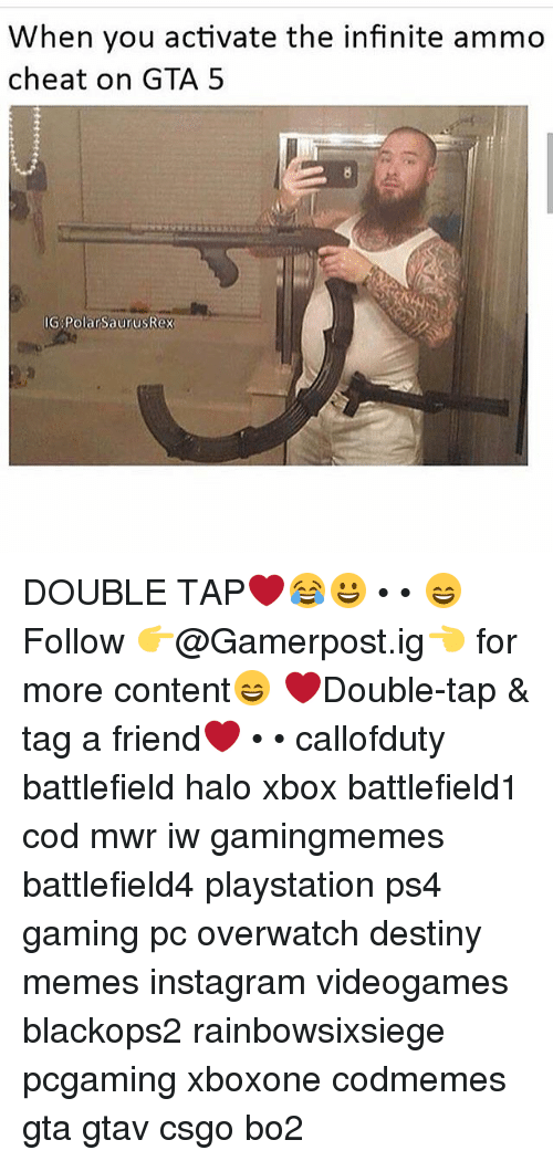 polarized: When you activate the infinite ammo  cheat on GTA 5  IG Polar SaurusRex DOUBLE TAP❤️😂😀 • • 😄Follow 👉@Gamerpost.ig👈 for more content😄 ❤Double-tap & tag a friend❤ • • callofduty battlefield halo xbox battlefield1 cod mwr iw gamingmemes battlefield4 playstation ps4 gaming pc overwatch destiny memes instagram videogames blackops2 rainbowsixsiege pcgaming xboxone codmemes gta gtav csgo bo2