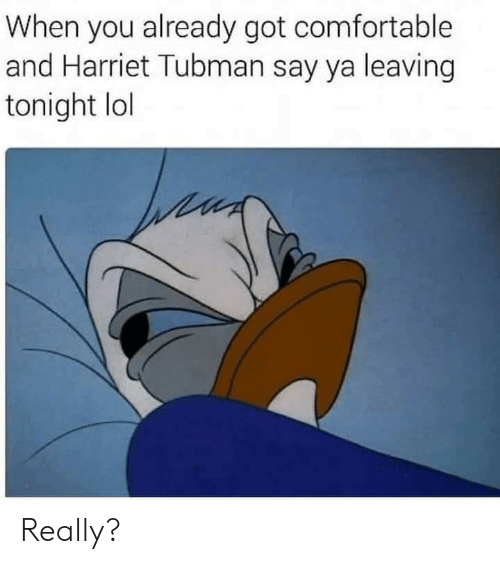 Comfortable, Lol, and Harriet Tubman: When you already got comfortable  and Harriet Tubman say ya leaving  tonight lol Really?