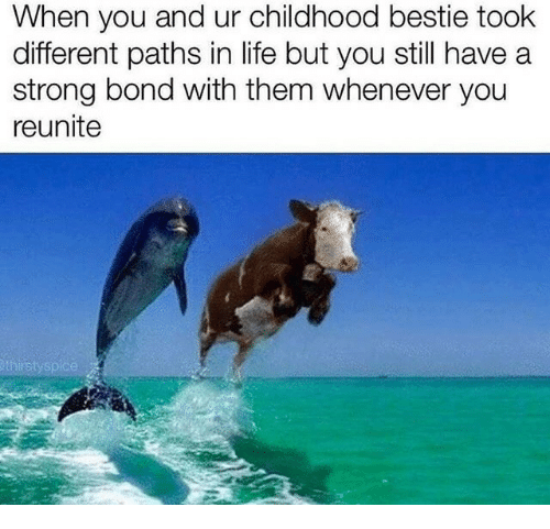 Life, Strong, and Bond: When you and ur childhood bestie took  different paths in life but you still have a  strong bond with them whenever you  reunite