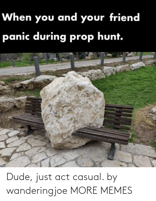Dank, Dude, and Memes: When you and your friend  panic during prop hunt. Dude, just act casual. by wanderingjoe MORE MEMES