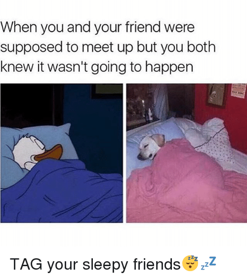 sleepys: When you and your friend were  supposed to meet up but you both  knew it wasn't going to happen TAG your sleepy friends😴💤