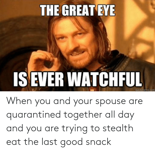 stealth: When you and your spouse are quarantined together all day and you are trying to stealth eat the last good snack