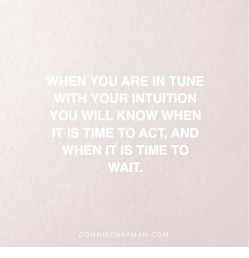 Intuition: WHEN YOU ARE IN TUNE  WITH YOUR INTUITION  YOU WILL KNOW WHEN  IT IS TIME TO ACT, AND  WHEN IT IS TIME TO  WAIT  CONNIECHAPMAN COM