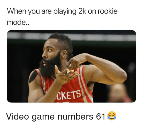 Basketball, Nba, and Sports: When you are playing 2k on rookie  mode..  CKETS Video game numbers 61😂