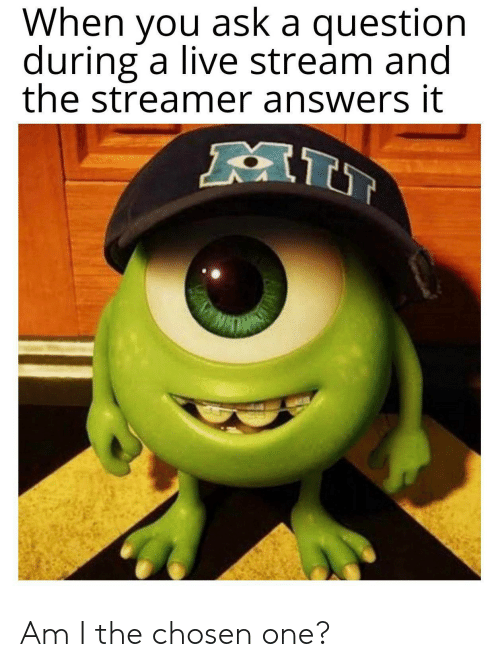 stream: When you ask a question  during a live stream and  the streamer answers it  AI Am I the chosen one?