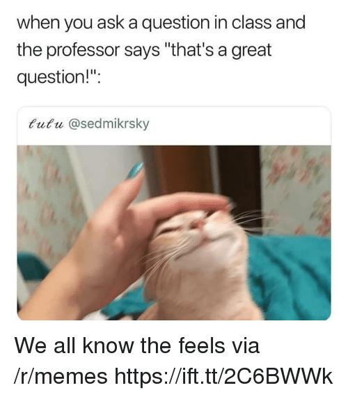"""Memes, Ask, and Class: when you ask a question in class and  the professor says """"that's a great  question!"""":  tutu @sedmikrsky We all know the feels via /r/memes https://ift.tt/2C6BWWk"""