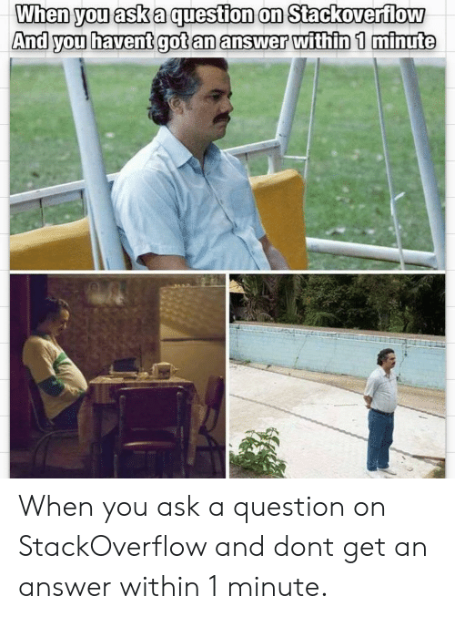Got, Answer, and Ask: When you ask a question on Stackoverflow  And you havent got an answer within 1 minute When you ask a question on StackOverflow and dont get an answer within 1 minute.