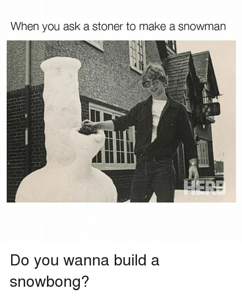 Do You Wanna Build: When you ask a Stoner to make a snowman Do you wanna build a snowbong?