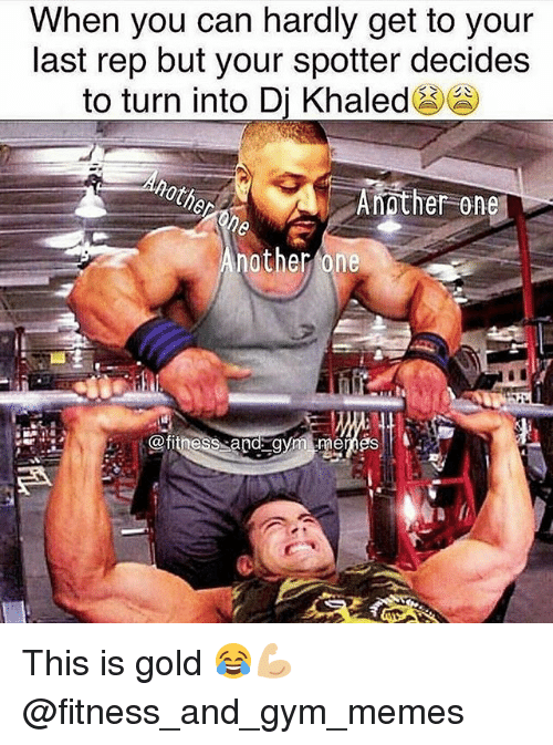 gym memes: When you can hardly get to your  last rep but your spotter decides  to turn into Dj Khaled  Another One  nother one  titness a This is gold 😂💪🏼 @fitness_and_gym_memes