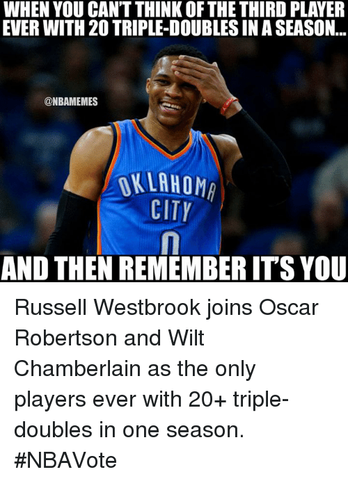 oscar robertson: WHEN YOU CANT THINK OF THE THIRD PLAYER  EVER WITH 20 TRIPLE-DOUBLESINASEASON  @NBAMEMES  OKLAHOM  CITY  AND THEN REMEMBERITS YOU Russell Westbrook joins Oscar Robertson and Wilt Chamberlain as the only players ever with 20+ triple-doubles in one season. #NBAVote