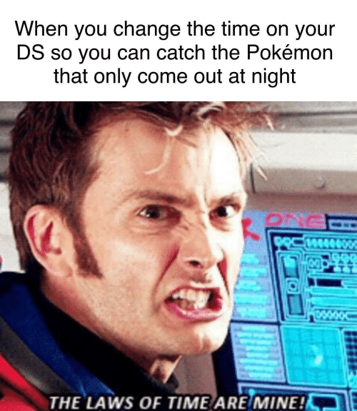 the pokemon: When you change the time on your  DS so you can catch the Pokémon  that only come out at night  THE LAWS OF TIME ARE/MINE!