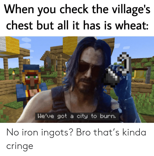 cringe: When you check the village's  chest but all it has is wheat:  We've got a city to burn. No iron ingots? Bro that's kinda cringe