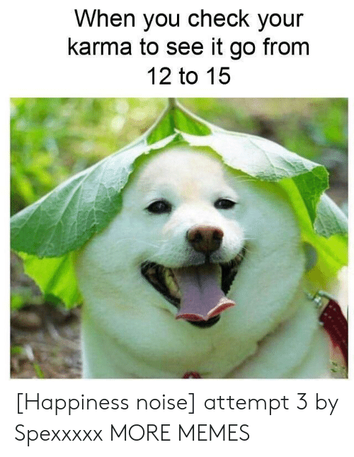 Dank, Memes, and Target: When you check your  karma to see it go from  12 to 15 [Happiness noise] attempt 3 by Spexxxxx MORE MEMES