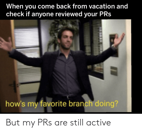 Vacation, Back, and Check: When you come back from vacation and  check if anyone reviewed your PRs  how's my favorite branch doing? But my PRs are still active