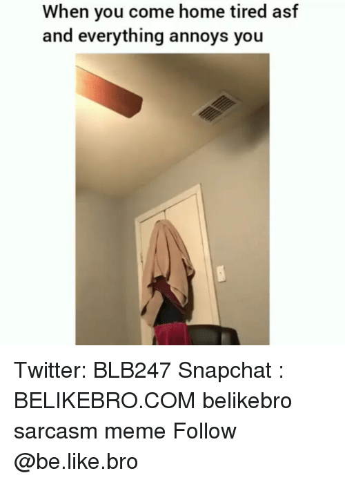 Be Like, Meme, and Memes: When you come home tired asf  and everything annoys you Twitter: BLB247 Snapchat : BELIKEBRO.COM belikebro sarcasm meme Follow @be.like.bro