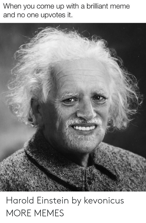 Dank, Meme, and Memes: When you come up with a brilliant meme  and no one upvotes it. Harold Einstein by kevonicus MORE MEMES