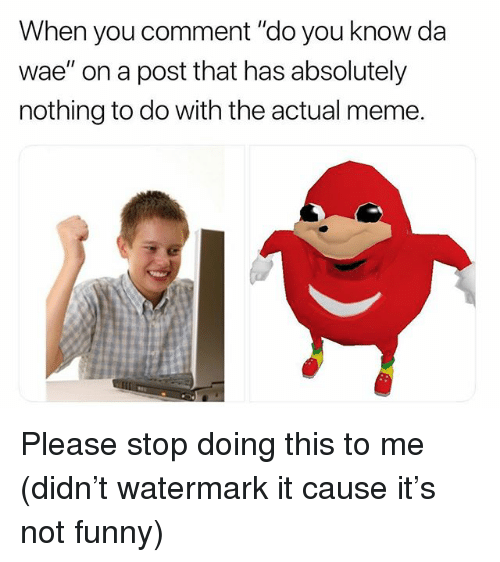 "Funny, Meme, and Memes: When you comment ""do you know da  wae"" on a post that has absolutely  nothing to do with the actual meme. Please stop doing this to me (didn't watermark it cause it's not funny)"