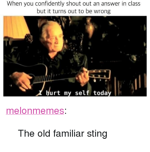 "Tumblr, Blog, and Sting: When you confidently shout out an answer in class  but it turns out to be wrong  14  Hurt my self today <p><a href=""https://melonmemes.tumblr.com/post/174629978695/the-old-familiar-sting"" class=""tumblr_blog"">melonmemes</a>:</p><blockquote><p>The old familiar sting</p></blockquote>"