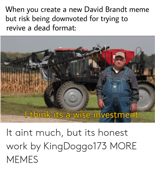 Dank, Meme, and Memes: When you create a new David Brandt meme  but risk being downvoted for trying to  revive a dead format:  | think its a wise investment It aint much, but its honest work by KingDoggo173 MORE MEMES