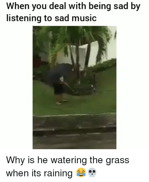 Funny, Music, and Sad: When you deal with being sad by  listening to sad music Why is he watering the grass when its raining 😂💀