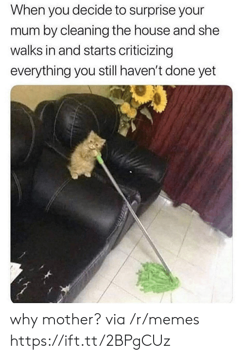 Memes, House, and Mother: When you decide to surprise your  mum by cleaning the house and she  walks in and starts criticizing  everything you still haven't done yet why mother? via /r/memes https://ift.tt/2BPgCUz