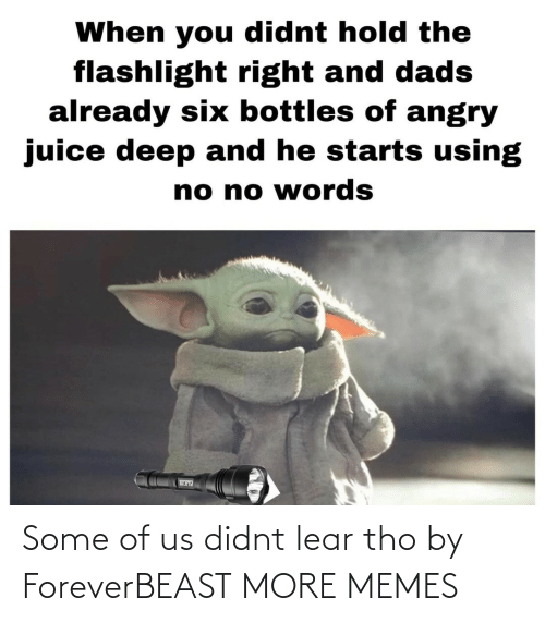 Flashlight: When you didnt hold the  flashlight right and dads  already six bottles of angry  juice deep and he starts using  no no words Some of us didnt lear tho by ForeverBEAST MORE MEMES