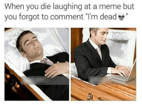 "im dead: When you die laughing at a meme but  you forgot to comment ""I'm dead"