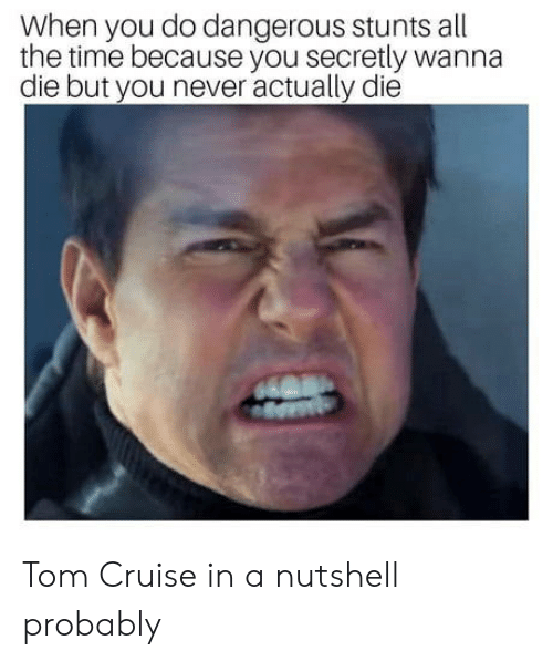Tom Cruise, Cruise, and Time: When you do dangerous stunts all  the time because you secretly wanna  die but you never actually die Tom Cruise in a nutshell probably