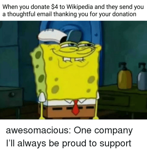 Tumblr, Wikipedia, and Blog: When you donate $4 to Wikipedia and they send you  a thoughtful email thanking you for your donation awesomacious:  One company I'll always be proud to support
