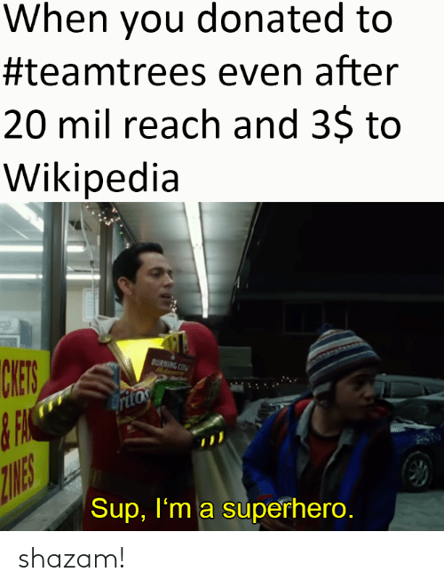 superhero: When you donated to  #teamtrees even after  20 mil reach and 3$ to  Wikipedia  CHES  BURNING COM  Hatanent  ritos  ZINES  Sup, I'm a superhero. shazam!