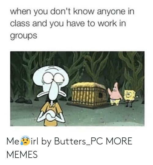 Dank, Memes, and Target: when you don't know anyone in  class and you have to work in  groups Me😰irl by Butters_PC MORE MEMES