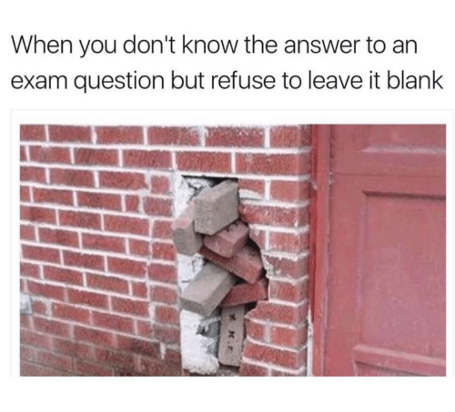 Blank, Answer, and You: When you don't know the answer to an  exam question but refuse to leave it blank