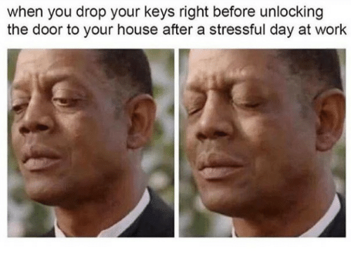 Work, House, and Day: when you drop your keys right before unlocking  the door to your house after a stressful day at work