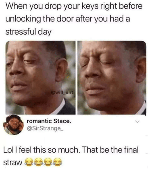 ent: When you drop your keys right before  unlocking the door after you had a  stressful day  @will ent  romantic Stace.  @SirStrange  Lol l feel this so much. That be the final  straw