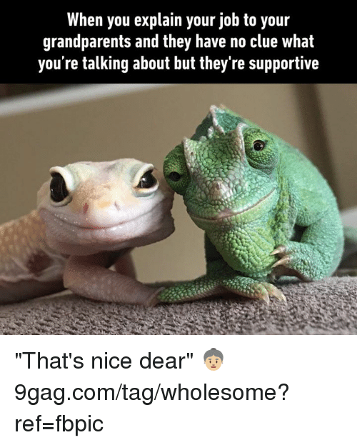 """9gag, Dank, and Wholesome: When you explain your job to your  grandparents and they have no clue what  you're talking about but they're supportive """"That's nice dear"""" 👵🏼 9gag.com/tag/wholesome?ref=fbpic"""