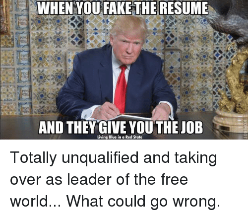 Blue In: WHEN YOU FAKE THE RESUME  AND THEY GIVE YOU THE JOB  Living Blue in a Red State Totally unqualified and taking over as leader of the free world... What could go wrong.